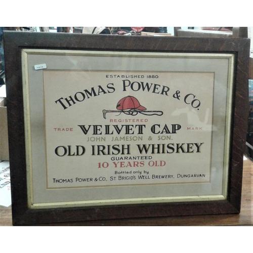 180 - 'T. Power, Dungarvan - Velvet Cap Old Irish Whiskey' Advertising Sign - c. 22.5 x 17.5ins...