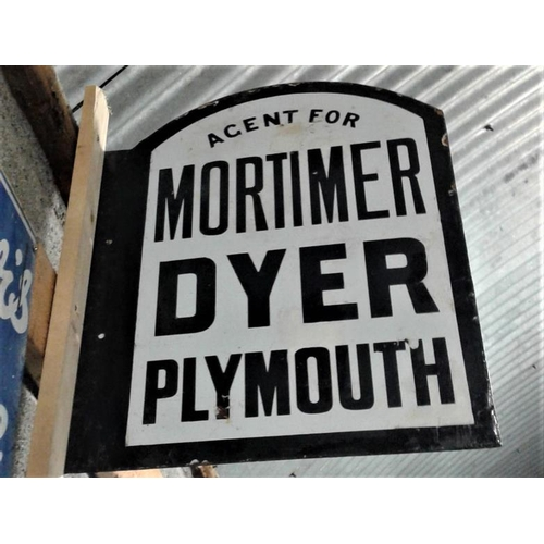 190 - 'Mortimer Dyer Plymouth' Double Sided Enamel Sign - 13 x 18ins...