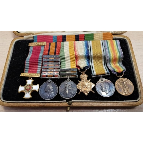 14 - Group of Five Miniature War Medals - Distinguished Service Order, Queen's South Africa Medal 1899-19...
