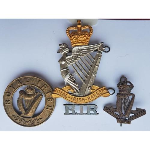 13 - Royal Irish Rangers Cap Badge, The Royal Irish Regiment Cap Badge, Royal Irish Badge and a R.I.R. Ba...