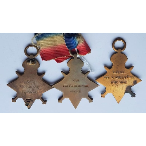 21 - Three 1914-15 Stars, awarded to 92 Pte D Golden Conn Rang, 2685 Pte D.M. Robertson High: L.I. and 13...