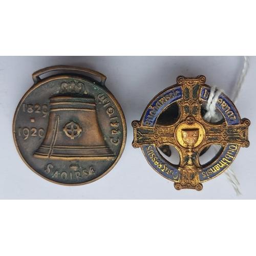 36 - Catholic Emancipation Commemorative Badge 1829-1929 and Eucharistic Congress Badge 1932 (2)...