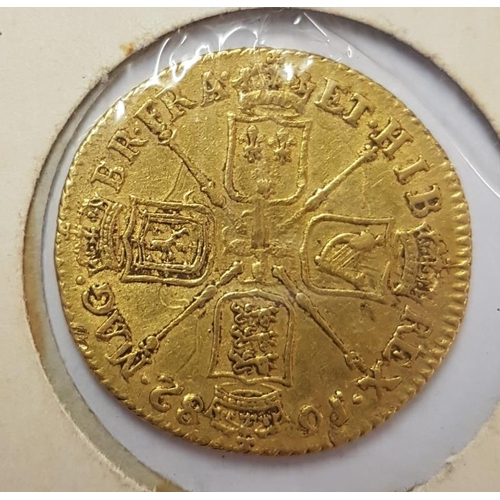 256 - Great Britain Guinea 1682 George II VF, c.8.3grams...