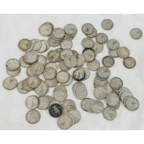 254 - 100 Irish Silver Shillings 1928-42 various...