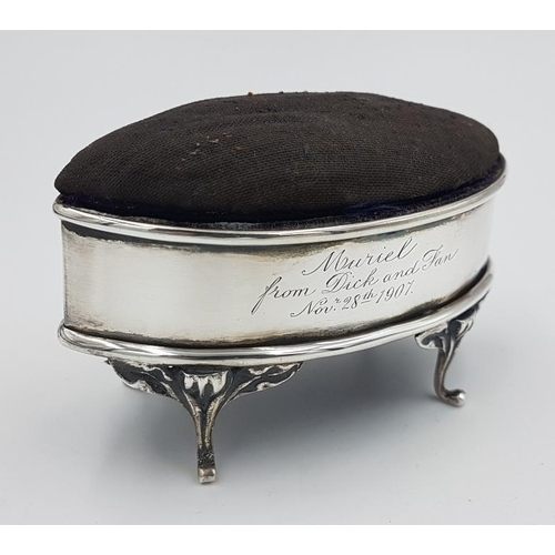 338 - Edwardian Silver Trinket Box Pin Cushion, Hallmarked Chester c.1905 with makers mark for Robert Prin...