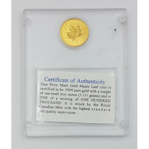 258 - Gold Canada 1/10 ounce (in hard plastic container)...