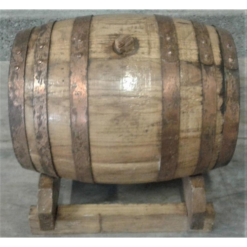 11 - Small Metal Bound Wooden Spirit Barrel...