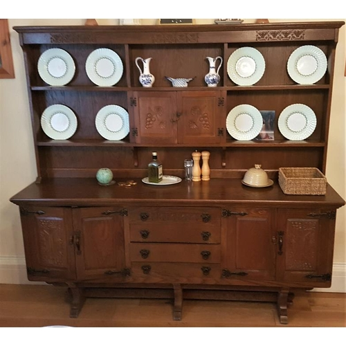 37 - 20th Century Dutch Hand Carved Oak Dresser, c.73 x 69in...
