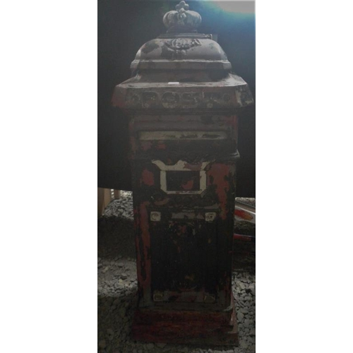 47 - Decorative Cast Iron Post Box with key, c.14in wide, 38in tall...