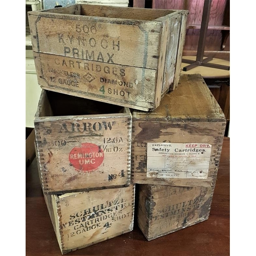 50 - Collection of Five Original Bullet/Cartridge Crates - Kynoch, Eley, Arrow & Schultze...