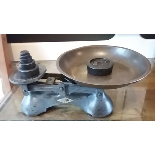 53 - Vintage Copper Pan Weighing Scales and Weights...