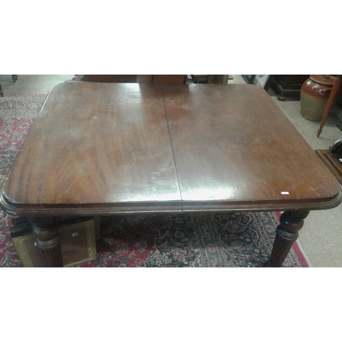 65 - Victorian Mahogany Breakfast Table with rounded corners and turned legs, c.48 x 41in...