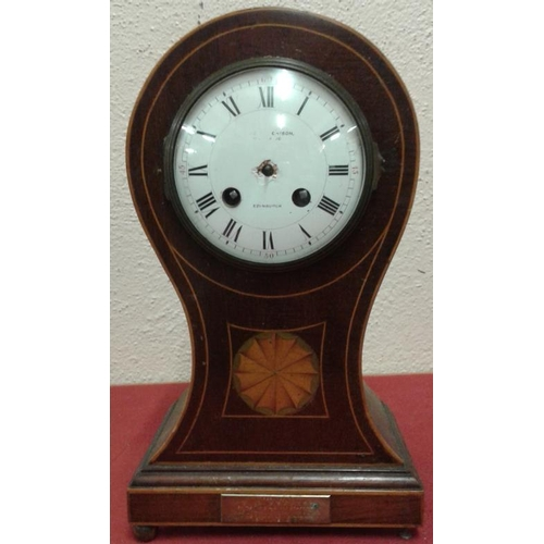 72 - Edwardian Inlaid Mahogany Case Balloon Top Mantle Clock (A/F)...
