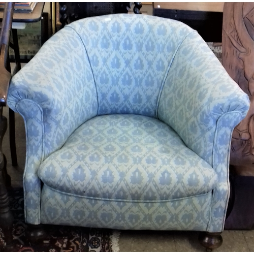 77 - Late 19th Century Tub Chair with Blue Upholstery...