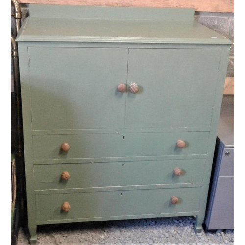 105 - Green Painted Cupboard - 36 x 20 x 40ins...