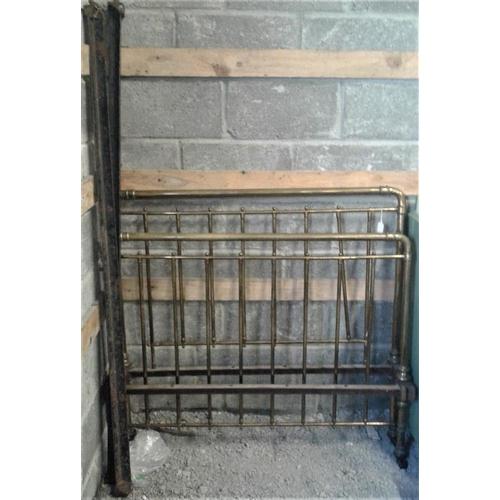 107 - Victorian 4ft Brass Bedstead...