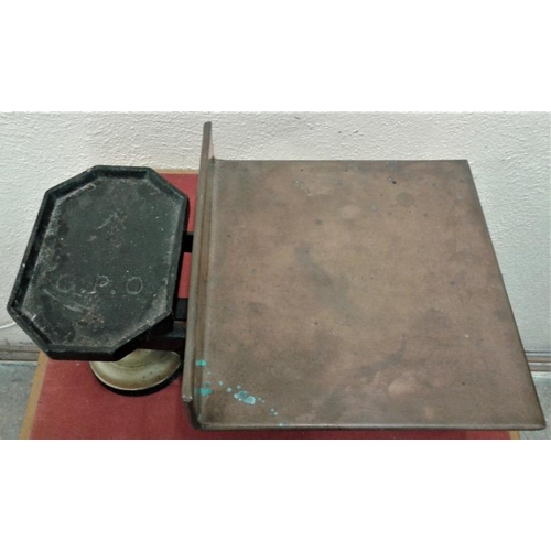 134 - Victorian Cast Iron Weighing Scales stamped G.P.O. and Copper Pan Engraved G. P. O. - 13 X 10ins...