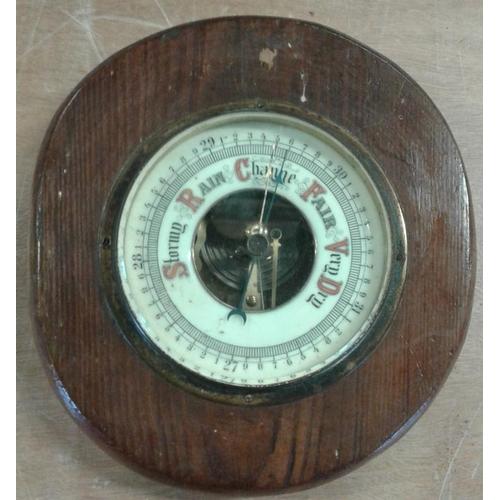 145 - Circular Oak Case Wall Barometer, 8in diam...