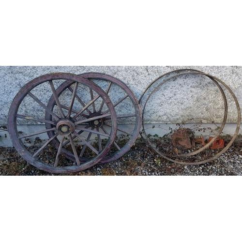 238 - Pair of Victorian Cart Wheels - A. Kearney & Co., Builders at Athlone, c.42in diameter...