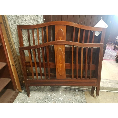 18 - Edwardian Inlaid Mahogany Bed Frame - 4ft 6ins...