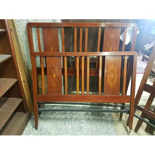 19 - Edwardian Inlaid Mahogany Bed Frame - 4'6