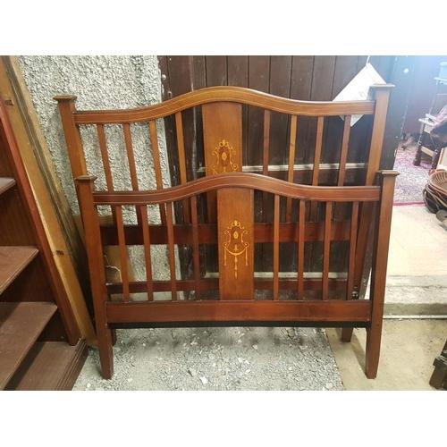 22 - Edwardian Inlaid Mahogany Bed Frame - 4'6