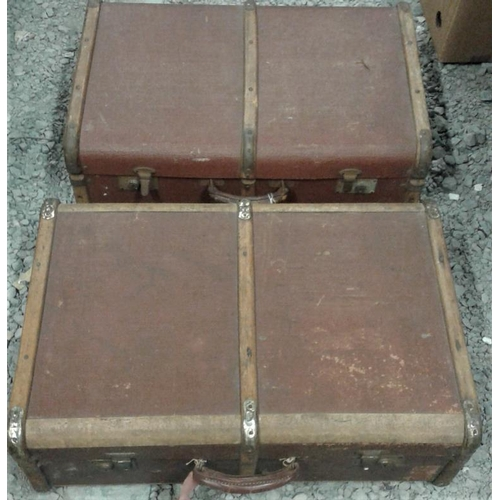 90 - Two Canvas and Bentwood Cabin Trunks...