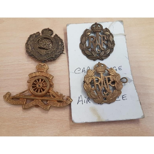 299 - Two Royal Air Force Cap Badges, one Royal Engineers and one Royal Artillery (4)...
