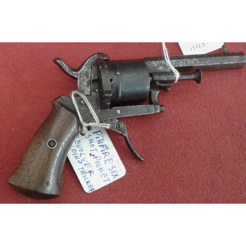 317 - Pin Fire Six Shot Revolver with Folding Trigger...