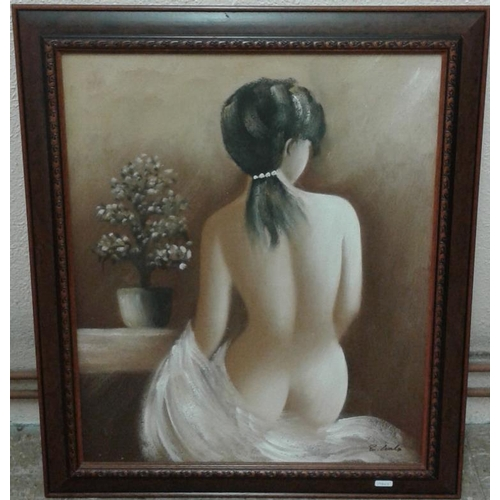 379 - Signed Oil on Canvas Painting of a female nude, c.24 x 28in...