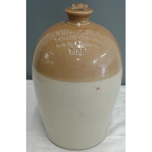 389 - Stoneware Whiskey Flagon - William Egan, Family Grocer, Main St. & Green St. Birr (with crack)...