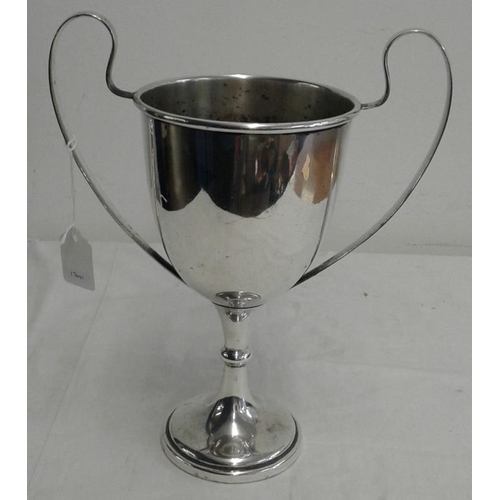 438 - Large Silver Plated Trophy Cup - No engravings, c.13in tall...