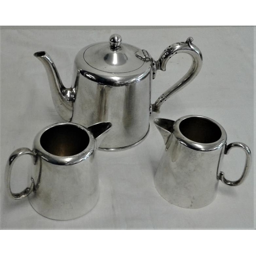 441 - Hotel Ware Silver Plated Walker Hall Teapot and Two Milk Jugs...