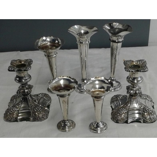 442 - Collection of Silver Plated Trumpet Vases and a Pair of Decorated Candlesticks...