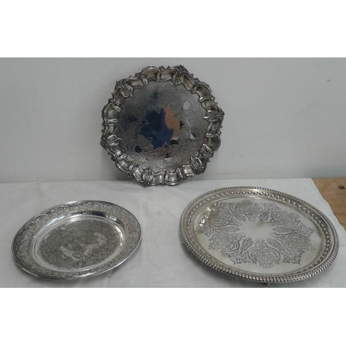 444 - Victorian Salver, Silver on Copper, a Sheffield Style Salver and an Elaborate Presentation Plaque...