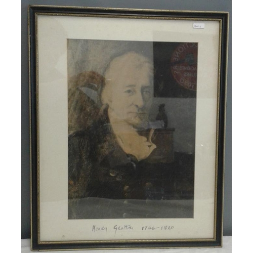 446 - Portrait of 'Henry Grattan 1746 - 1820' - Overall c. 17 x 21ins...