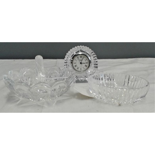 457 - Waterford Crystal Ring Dish, Pin Dish and Clock...