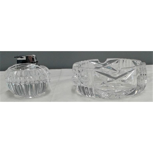 458 - Waterford Crystal Ashtray and Cigarette Lighter...