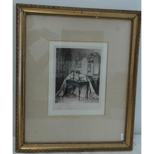498 - Gilt Framed Print - 'The Letter' - Overall c. 20 x 17ins...