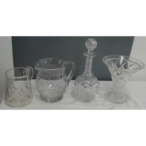 572 - Two Cut Glass Water Jugs, Trumpet Glass Vase and a Cut Glass Sherry Decanter...