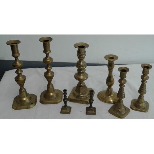 578 - Collection of Antique Brass Candlesticks (pairs and singles)...