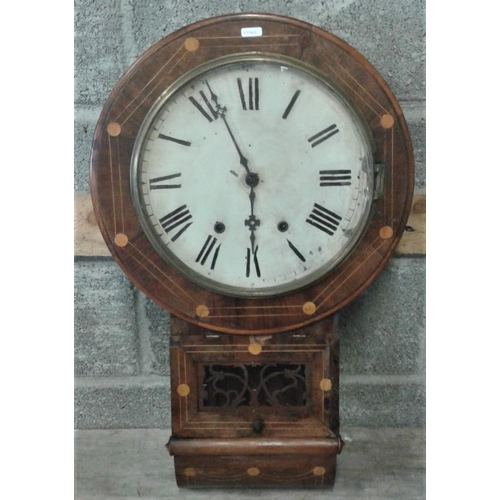 622 - Victorian Inlaid Mahogany Drop Dial Wall Clock...
