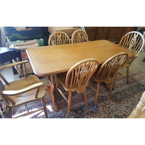 631 - Modern Table (c.30in x 58in) and Six Chairs (with glass top)...