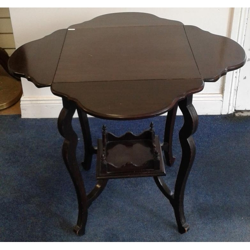 632 - Edwardian Mahogany Drop Leaf Two Tier Occasional Table, c.26in tall...