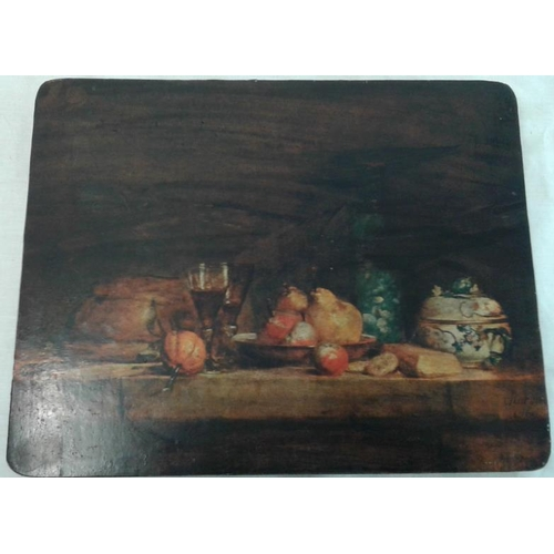 642 - Two Still Life -  Barrel on Table (c. 25 x 21.5ins) and Fruit on Table  (c. 8.5 x 10.5ins)...