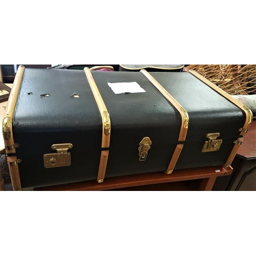 648 - Good Quality Vintage Bentwood and Canvas Cabin Trunk...