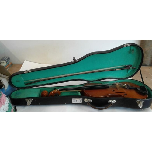 654 - Violin with Bow and Case...