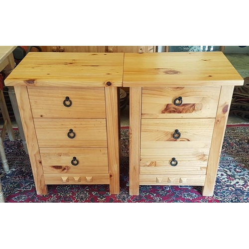 665 - Pair of Three Drawer Pine Bedside Cabinets, each c.22in wide...