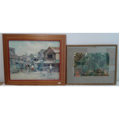 371a - Watercolour (c. 16 x 20ins) and OOB (c. 20 x 24ins) - Street Scenes...