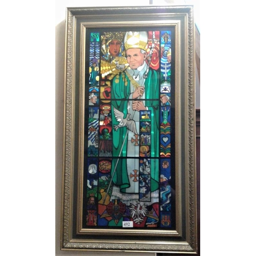 492 - Stained Glass Panel depicting Pope John Paul II in a Gilt Frame, c.19 x 36in...